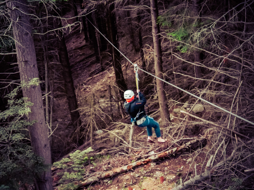 Picture of a woman zip lining through a forest