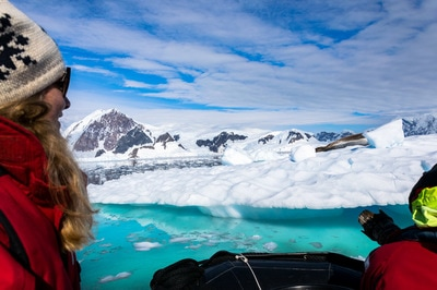 Woman overlooks beautiful icey landscape in Antarctica