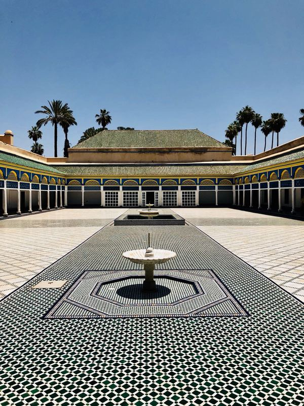 The grand courtyard inside the Bahia Palace in Marrakesh, Morocco