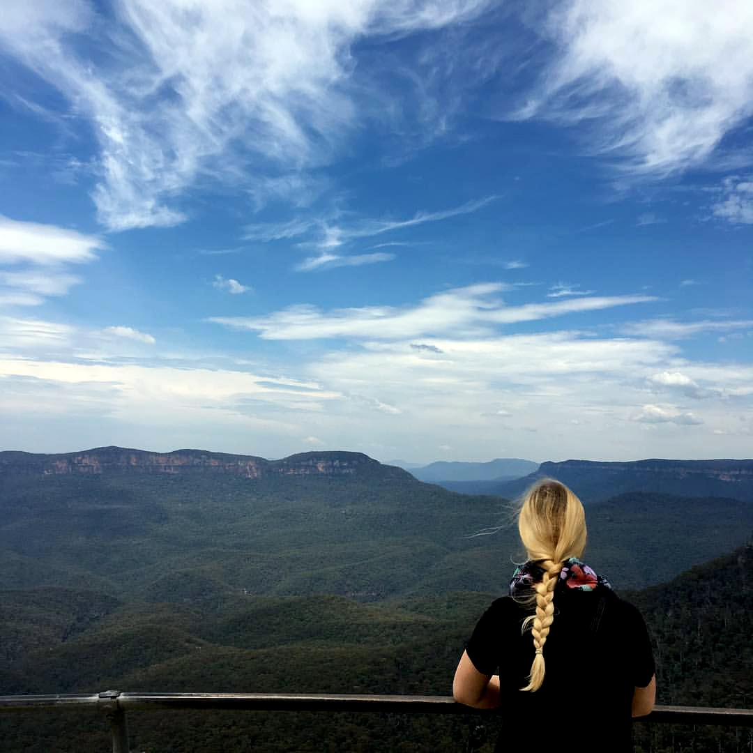 Woman overlooks the Blue Mountains in Australia