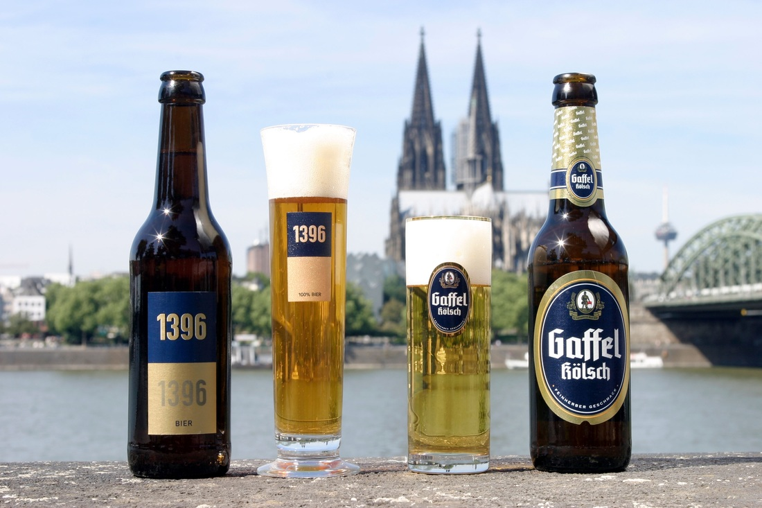 Gaffel and 1396 beers against iconic Cologne backdrop in Germany