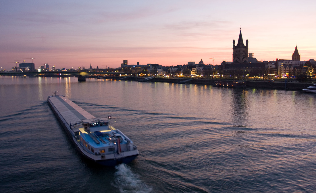 The River Rhine at sunset in Cologne, Germany