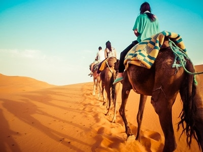 Woman on camels in a Moroccan desert
